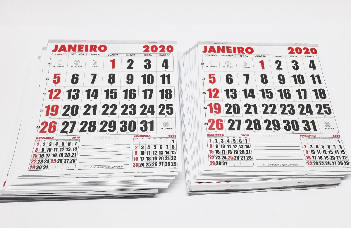 Calendario Serie A 2020 10.50 Blocos De Calendarios 2020 30 5x30 5 Cm Bloco Comercial F