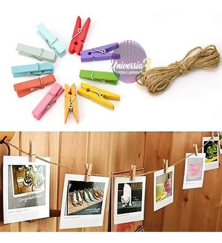 50 broches madera color decoracion fotos carteles mini !