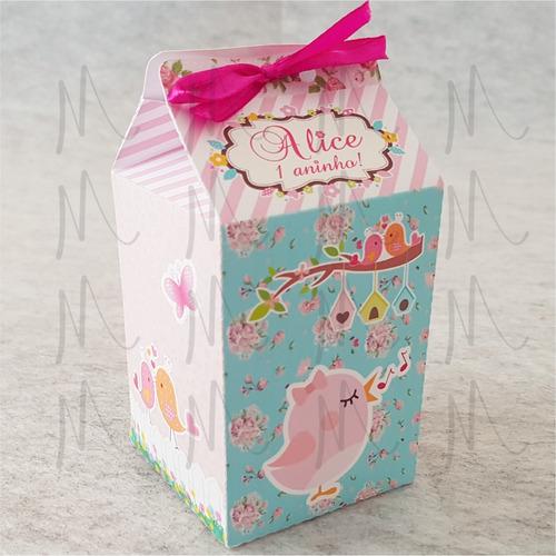 50 caixa milk personalizada jardim encantado varios temas