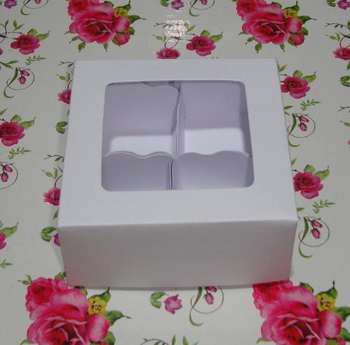 50 caixas/embalagens - cabe 4 doces ou trufas 8 x 8 x 4 cm-