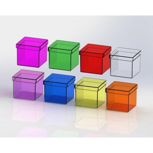 50 caixinha acrílico 4x4 quadrada max. 1kit p/ compra