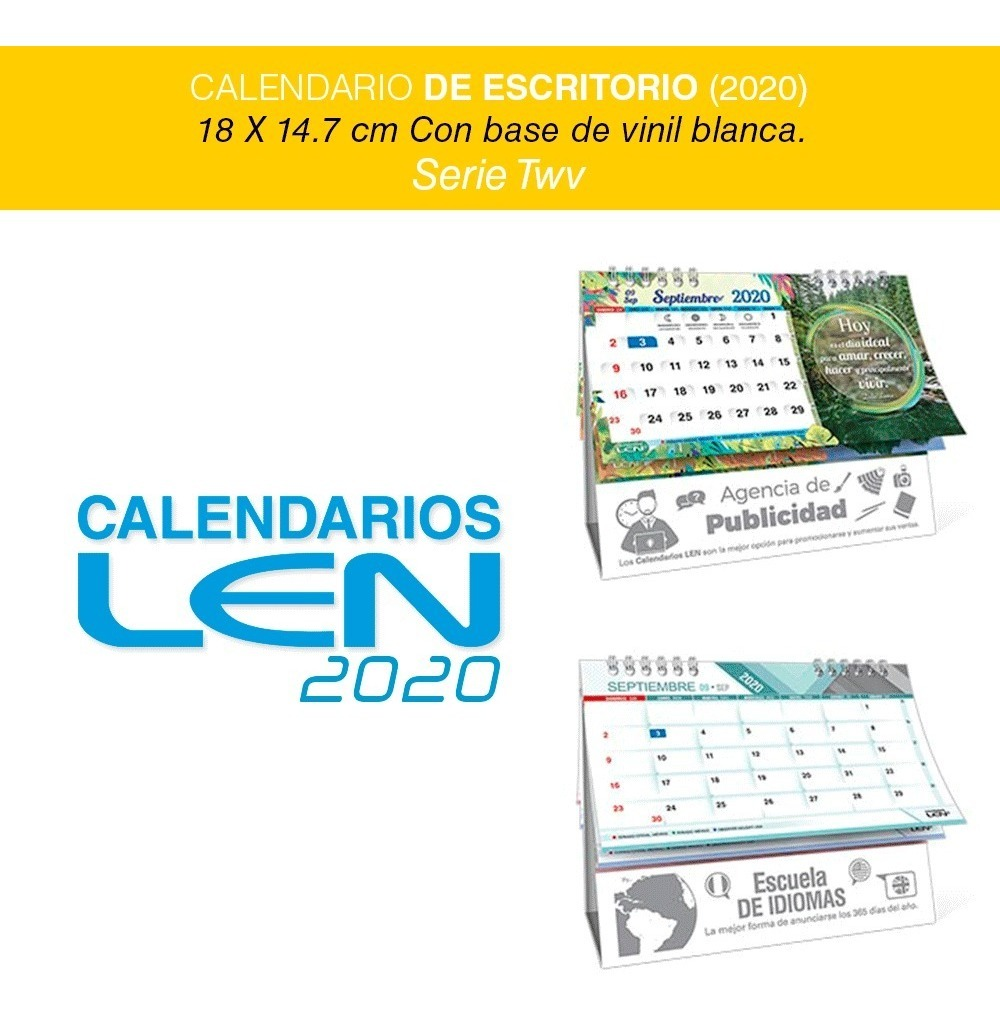 Calendario 202018.50 Calendarios De Escritorio Con Base Vinil Blanca 2020