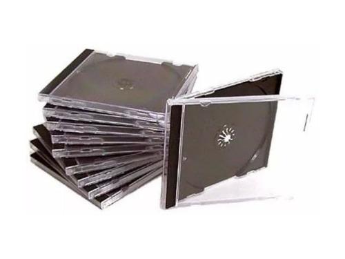 50 capas caixinha acrilica cd box tradicional - transparente