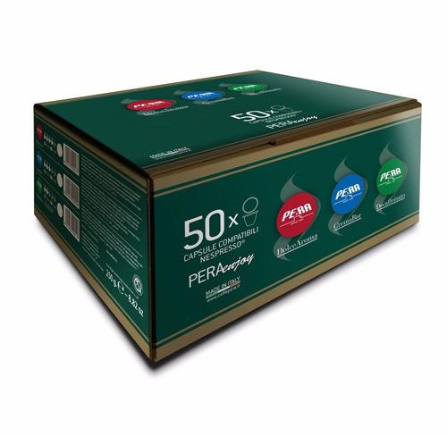 50 capsulas para nespresso caffe pera italiano descafeinado