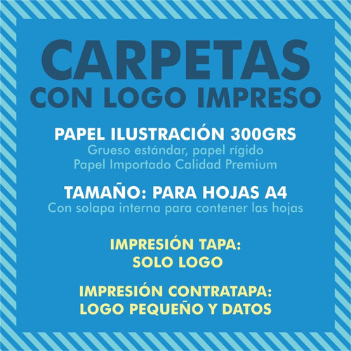 50 carpetas presentación a4 300gr con solapa y logo impreso
