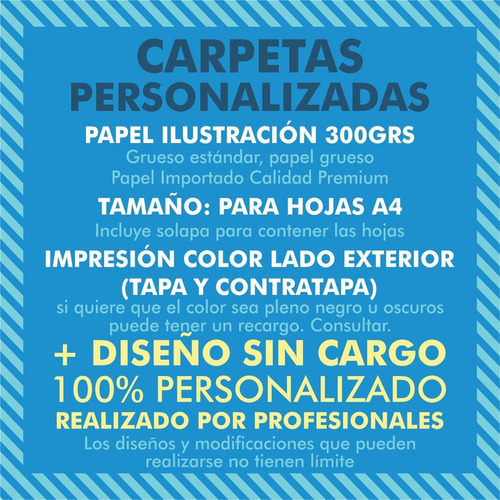 50 carpetas presentación a4 300grs c/ solapa + diseño gratis