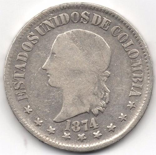50 centavos 1874 bogotá, 50 en números plata