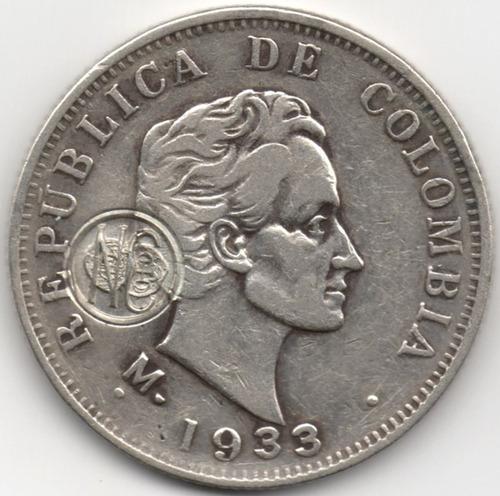 50 centavos 1933 resello numismáticos colombianos 1976 plata