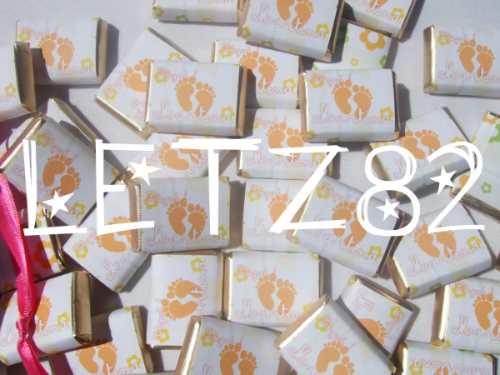 *50 chocolates personalizados en bolsita de tela*