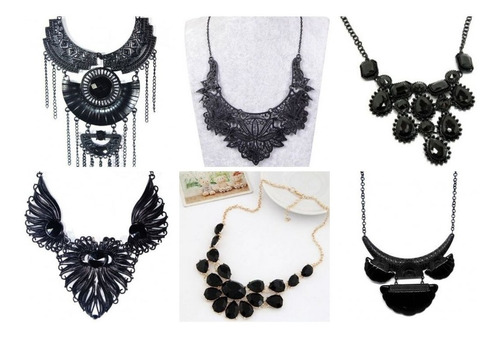 50 colar maxi kit de bijuterias atacado revenda cor preta
