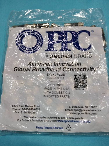 50 conectores rg6 de compresion, marca ppc, made in usa.