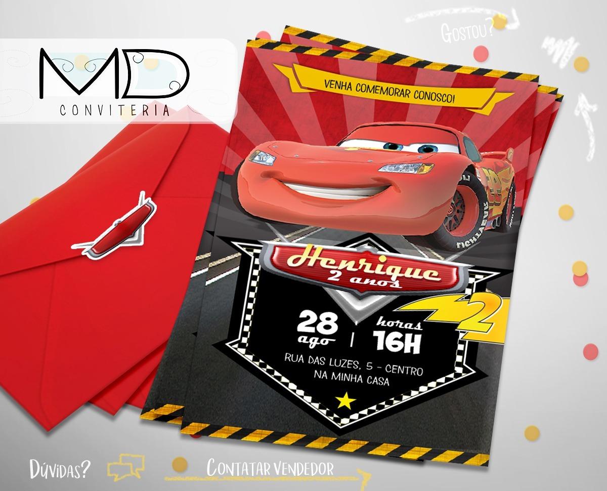 50 Convite De Aniversário Carros Mcqueen Frete Grátis R 9900