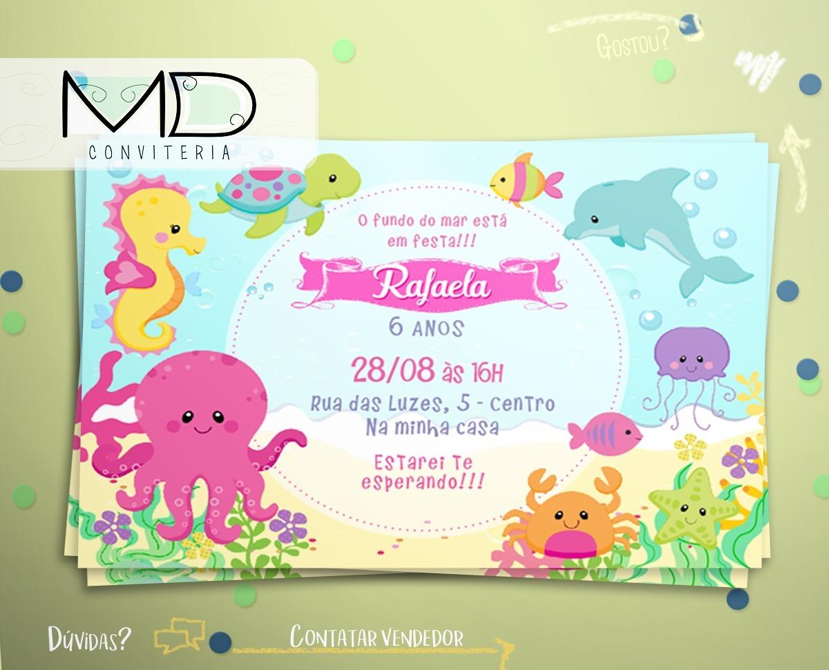 50 Convite Festa De Aniversário Fundo Do Mar Sem Envelope R 4900