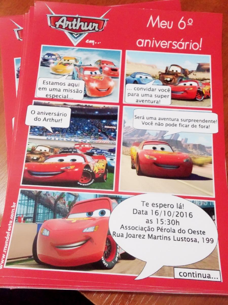 50 Convite Gibi 15x20 Aniversário Carros Mcqueen R 3990 Em