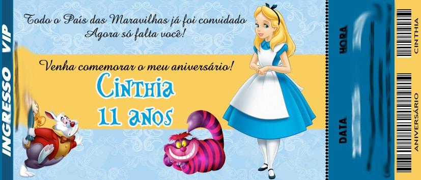 50 Convite Ingresso Aniversário Alice Pais Maravilhas 48hrs R 24