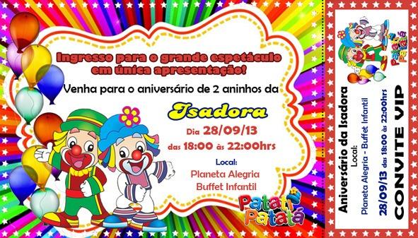 50 Convite Ingresso Aniversário S Envelope Patati Patata R 2490