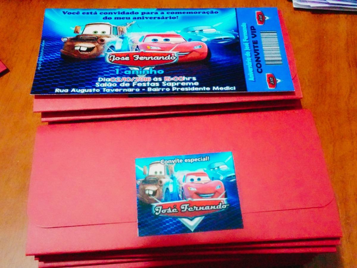 50 Convite Ingresso C Envelope Aniversário Carros Mcqueen R 49