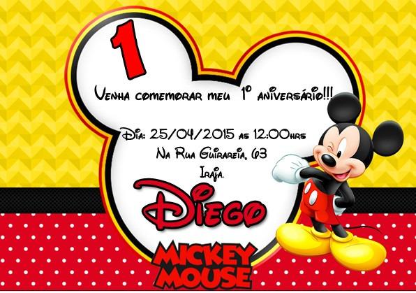 50 Convite Ingresso Mickey Minnie Baby Disney Aniversário ...