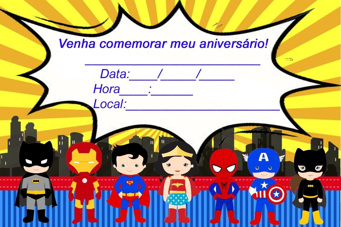 50 Convite Super Heróis Cute Papel Fotográfico 9x12cm R 3000 Em