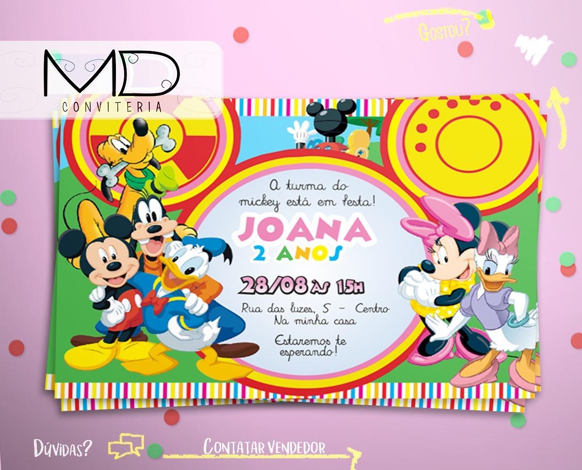 50 Convite Turma Do Mickey Festa De Aniversário Sem Envelope