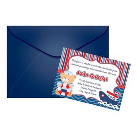 50 Convites 10x7 Personalizados Com Envelope E Lacre