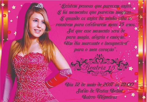 50 convites 15 anos preto e pink