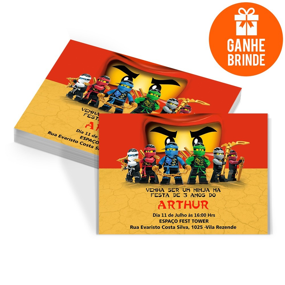 50 Convites 50 Tags Aniversário Ninjago Brinde R 2999 Em