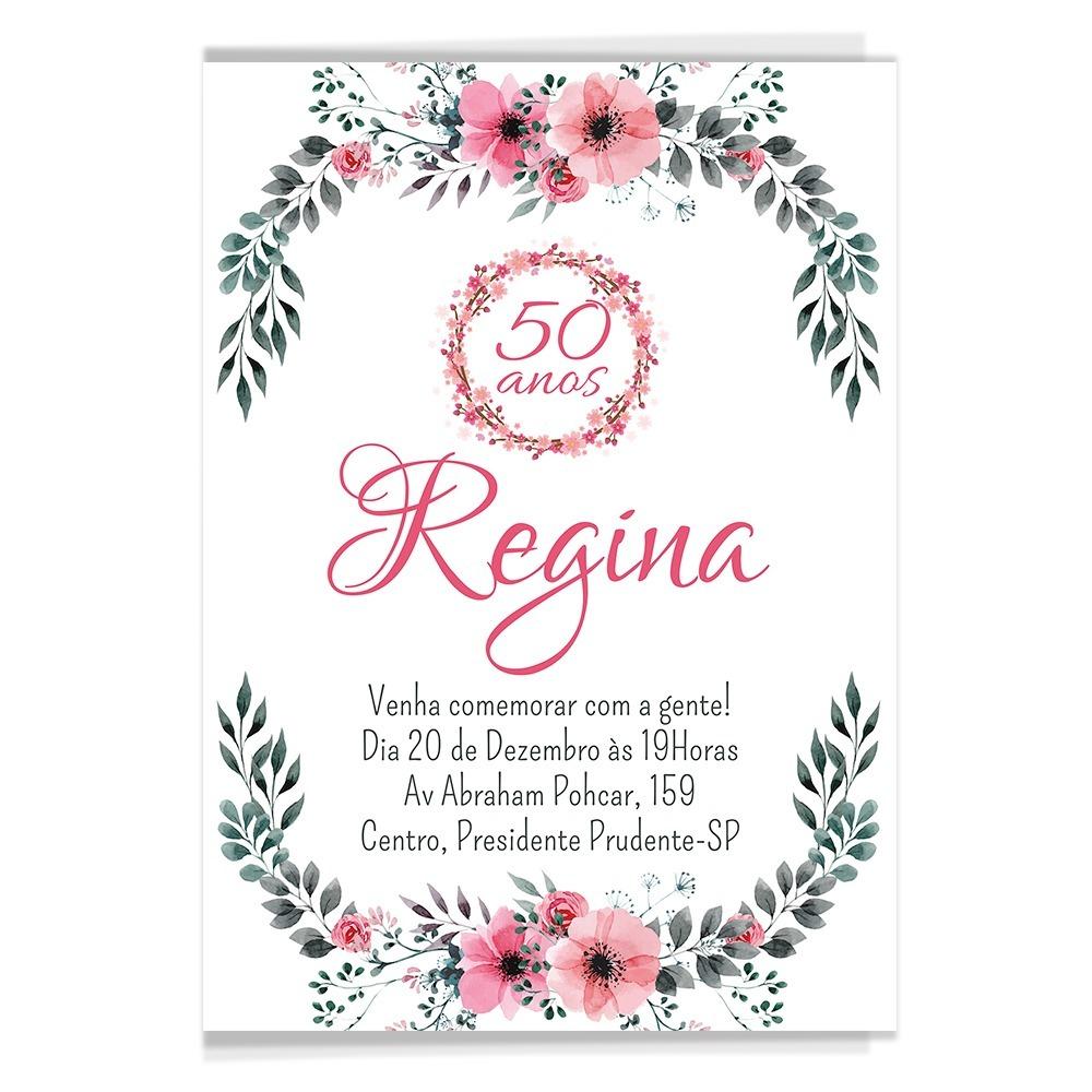 50 Convites Aniversário Adulto Florais Floral R 2199 Em Mercado