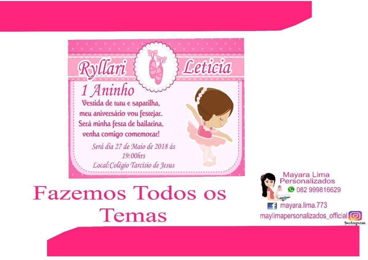 50 Convites Bailarina Personalizados R 1700 Em Mercado Livre