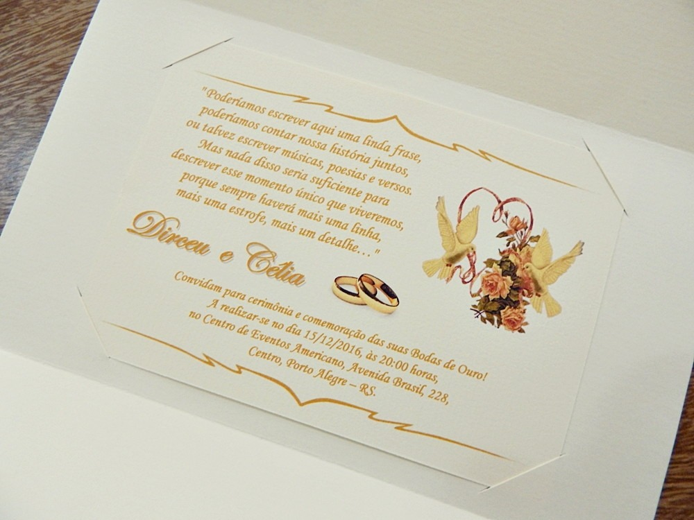 50 Convites Bodas De Ouro Cancun Passáros Baratos Promoção R