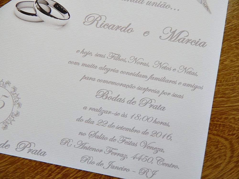 50 Convites Bodas De Prata Barato Promoção R 6750 Em Mercado