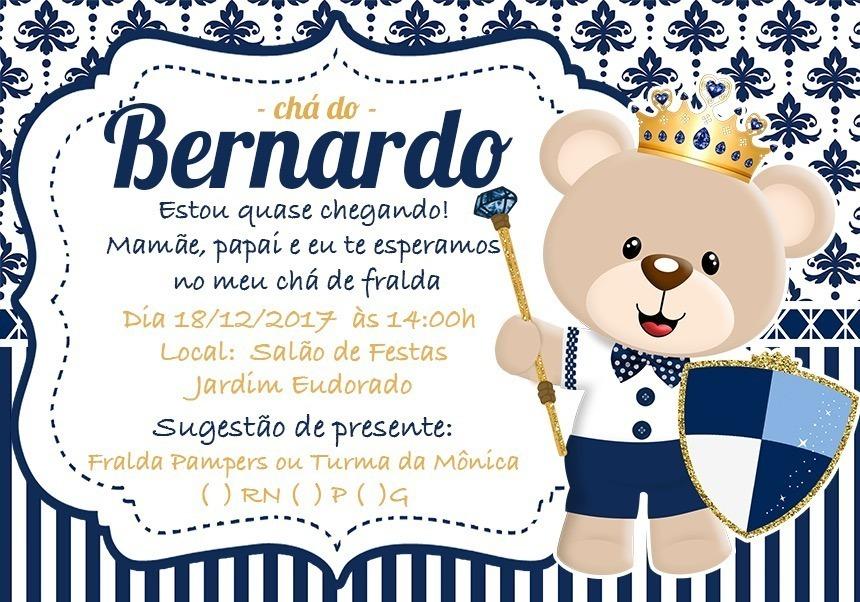 50 Convites Chá De Bebê Urso Príncipe R 2500 Em Mercado Livre