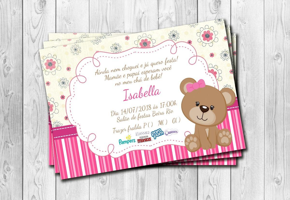 50 Convites Cha De Fralda Ursinho Menina Personalizado 10x15 R 25