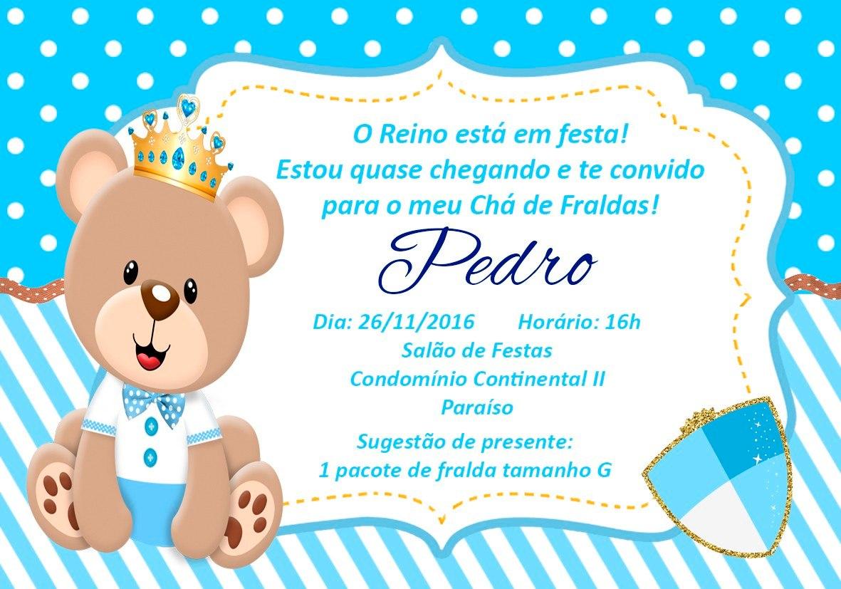 50 Convites Ch 225 De Fraldas Ursinho Pr 237 Ncipe 10x7cm R 25