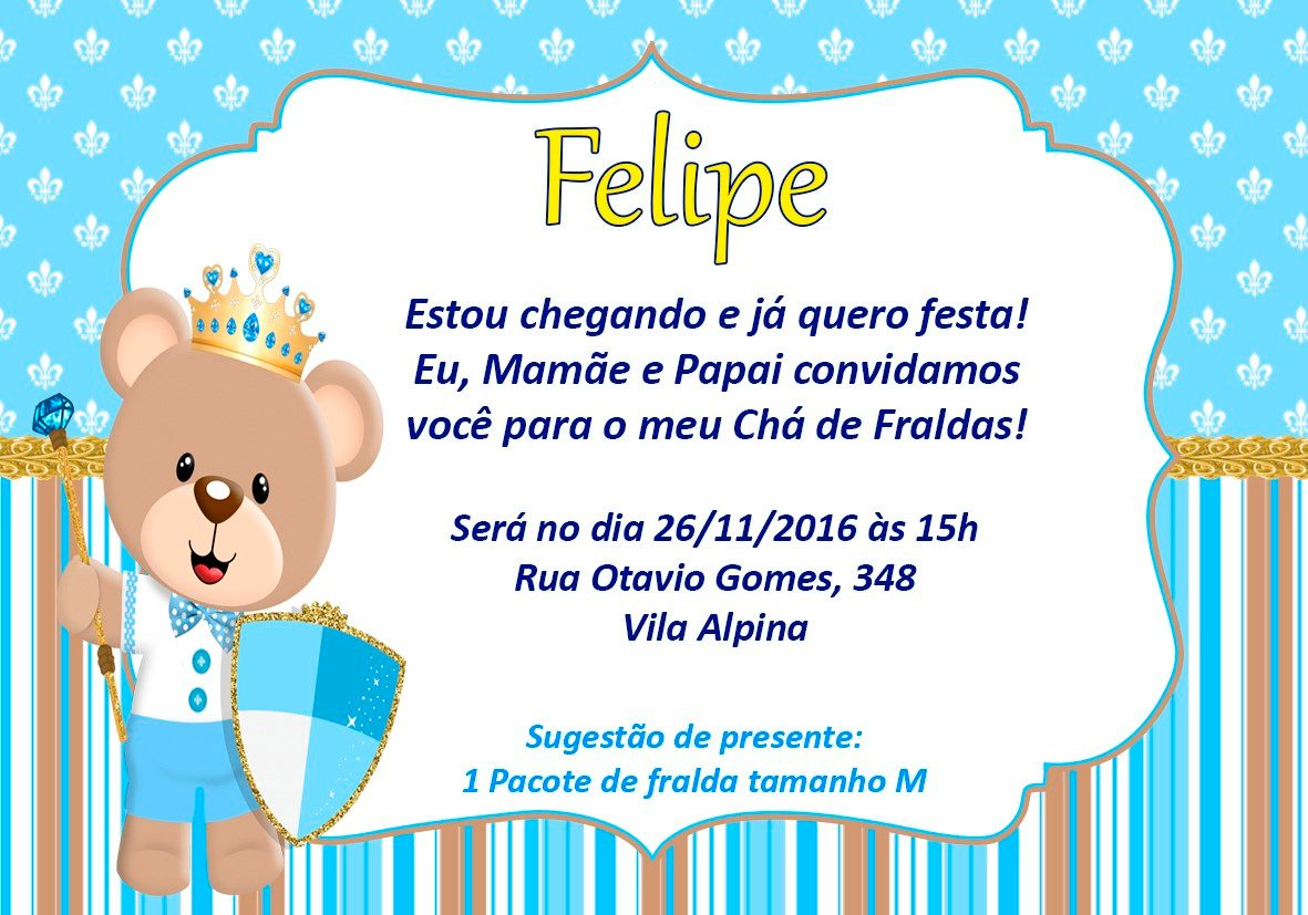 50 Convites Chá De Fraldas Ursinho Príncipe 10x7cm R 2500 Em
