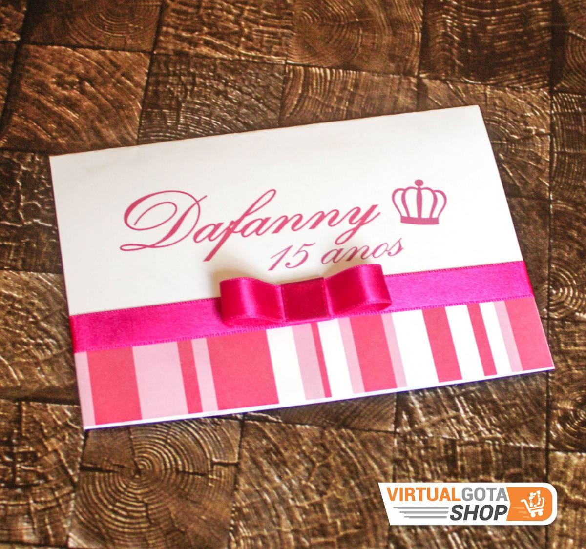 50 Convites De Aniversário 15 Anos Infantil Rosa Pink Laço R 97