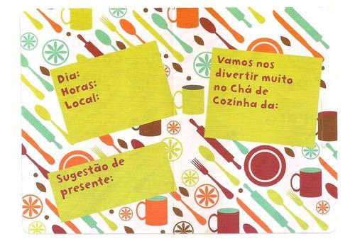 50 convites de chá de cozinha (ref.104) - pronta entrega