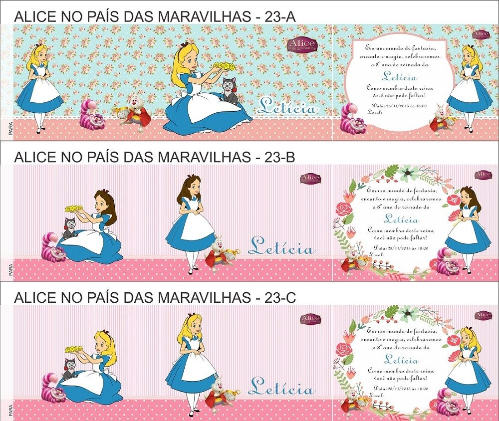 50 Convites Infantil Alice Envelope Personalizado R 3996 Em