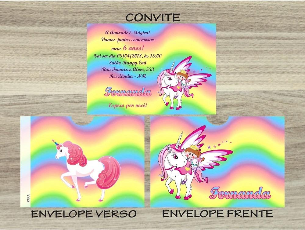 50 Convites Infantil Unicórnio Envelope Personalizado R 3996 Em