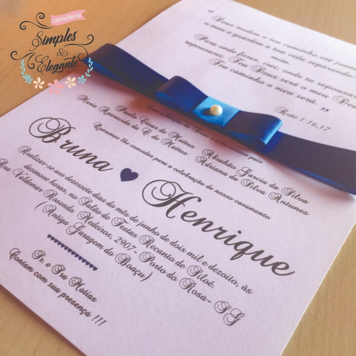 50 Convites Para Casamento Tamanho M Fita Cetimlaçopérola R 90