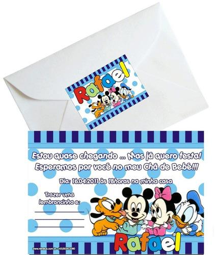 50 convites para chá de bebê 7 x 10 com envelopes
