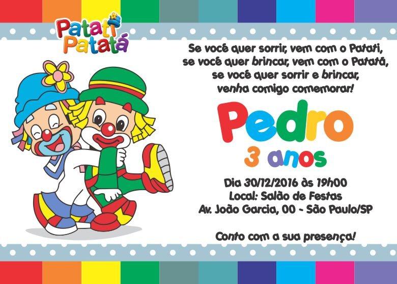 50 Convites Patati Patatá 10x7 Personalizados Palhacinhos R 3000