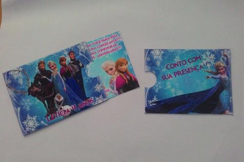 50 convites personalizados com envelopes do mesmo tema