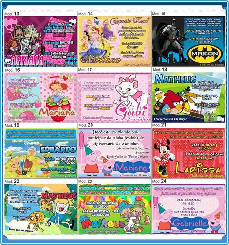 50 convites personalizados de aniversário infantil frete grá