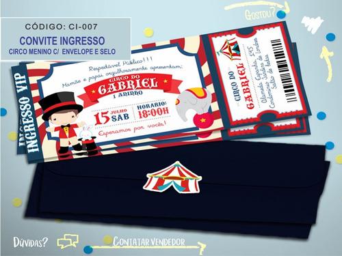 50 convites personalizados ingresso circo + frete grátis