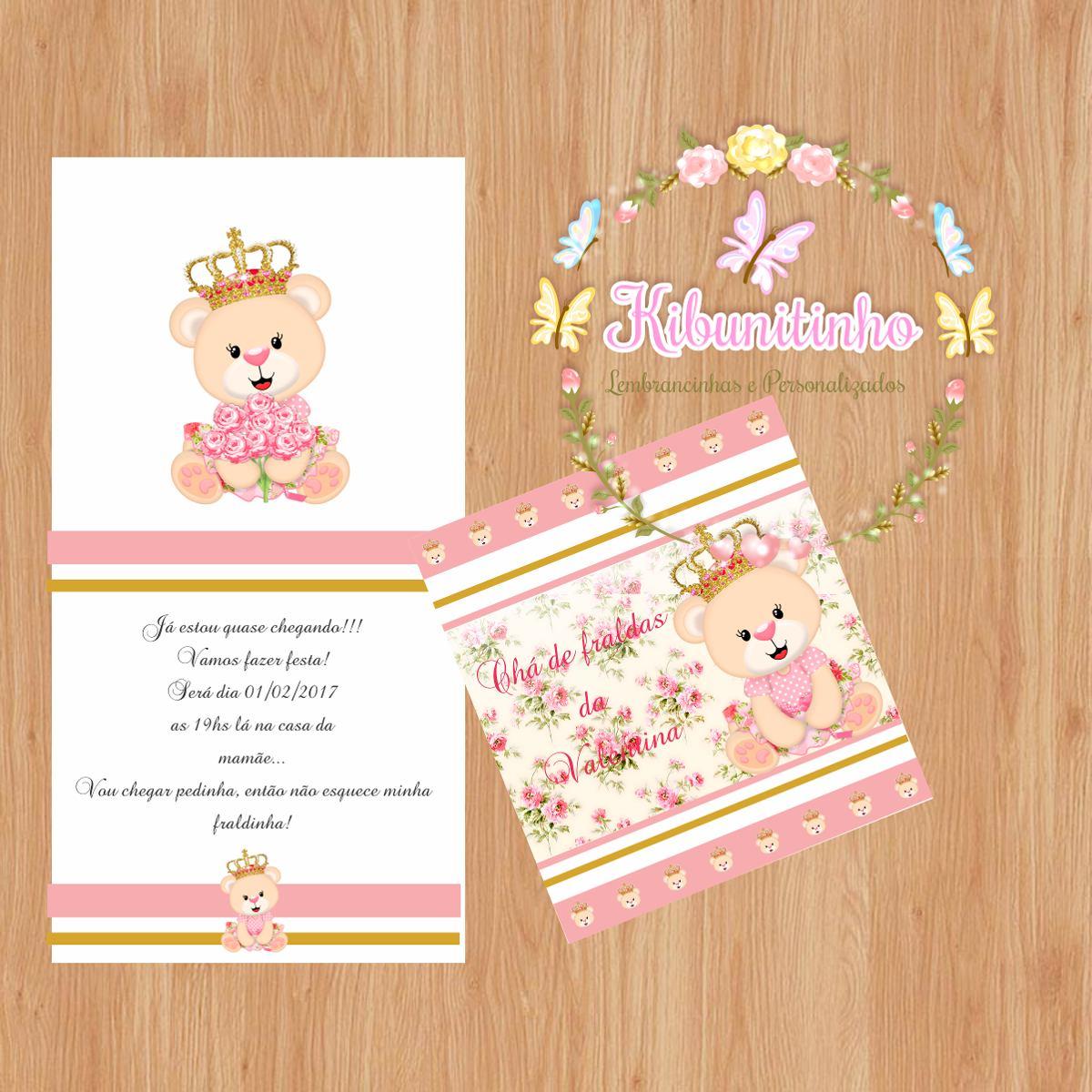 50 Convites Ursinha Princesa Chá De Fraldas Chá De Bebê R 70