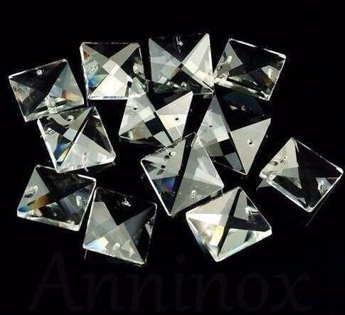 50 cristais asfour quadrado 2 furos 22mm para lustre