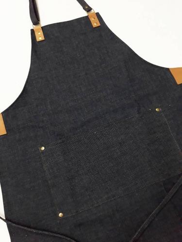 50 delantales de jean y cuero con tu logo o marca grabado