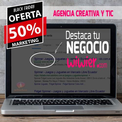 50% descuento marketing - diseño - facebook - google