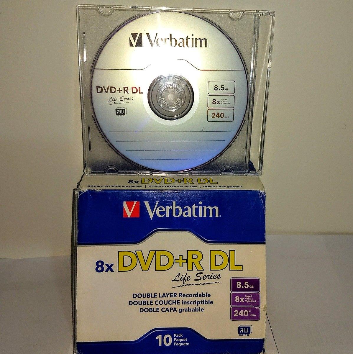 50 Dual Layer Verbatim 8x Logo 8.5gb Na Cx De Acrilico - R$ 261,44 Dvd Verbatim Double Couche on